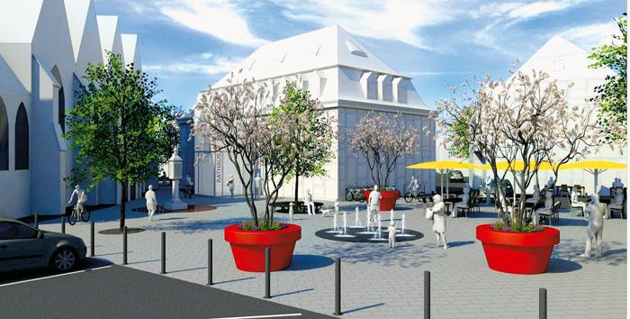 So sahen die Planungen für die Umgestaltung des Rathausvorplatzes aus. Viele Bürger fragten sich: Ist das noch unser Rietbe