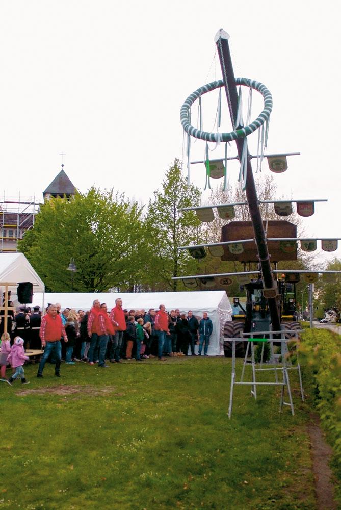 Endlich ist es so weit: Alle Besucher beobachten gespannt das Aufstellen des Maibaumes am Varenseller Kirchplatz.