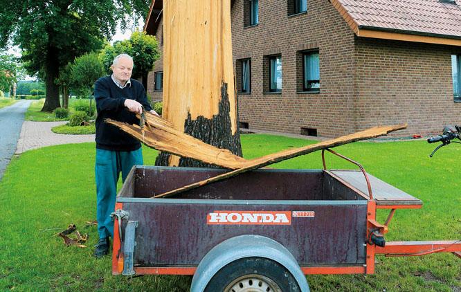 Das war es wohl für die Eiche – ein Blitzeinschlag sprengte  die Baumrinde neben dem Haus von Franz-Josef Lange ab. Fotos: