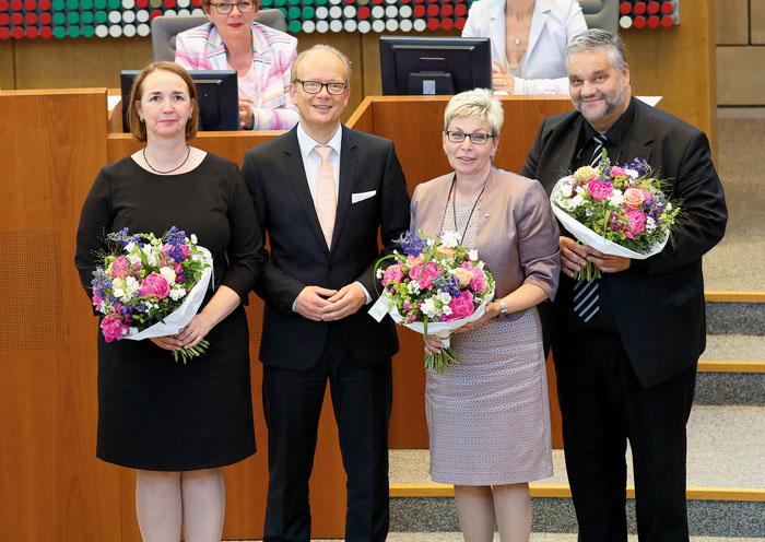 André Kuper (2. von links) und seine Stellvertreter Angela Freimuth (v.l.), Carina Gödecke und Oliver Keymis. Fotos: Landta