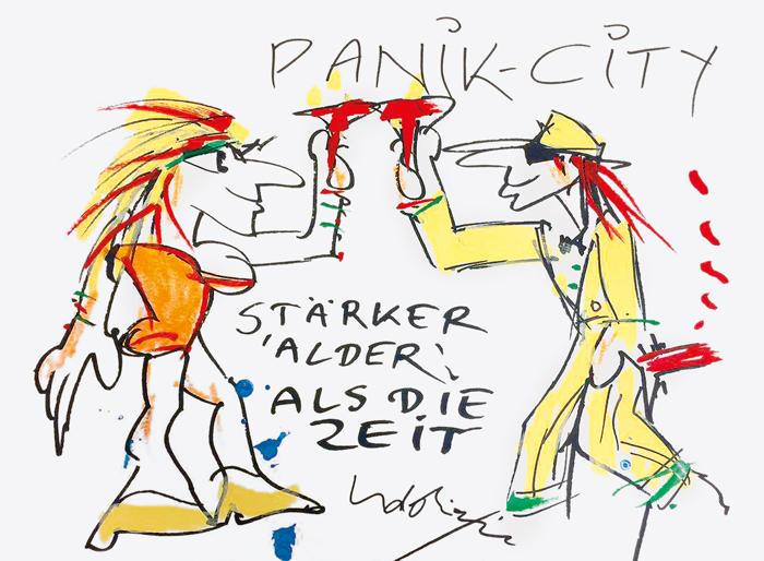 """Eigens für Mastholte hiflt 2017 von Udo Lindenberg gemalt - das A3- Bild """"Panik-City"""" - es wird von RWM demnächst verst"""