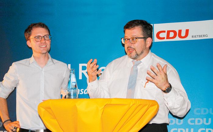 Kämpferisch zeigten sich CDU-Stadtverbandschef Christian Brockschnieder (links) und Fraktionssprecher Marco Talarico vor den