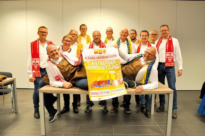 Hatten schon beim Pressegespräch tierischen Spaß: Die Aktiven der drei Karnevalsvereine Kolping Neuenkirchen (rot-weißer S