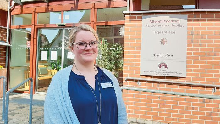 Laura Eggert leitet seit Anfang April das Altenpflegeheim St. Johannes Baptist. Für die Bewohner lässt sie sich einiges ein