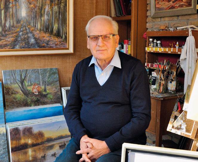 Heinz Heckemeier in seinem Atelier. Eine wahre farbige Fundgrube an Ölgemälden, Aquarellen, Federzeichnungen. Weit über ta