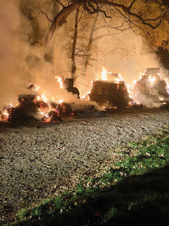Auf etwa 600 Quadratmetern Fläche brannte das Strohlager vor dem angrenzenden Baumbestand. Annähernd 500 Ballen wurden Raub